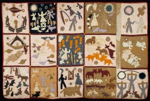 Pictorial Quilt; Harriet Powers (1837-1910); United States; 1895-98; Textiles: Cotton plain weave, pieced, appliqued, embroidered, and quilted; 175 x 266.7 cm (68 7/8 x 105 in.