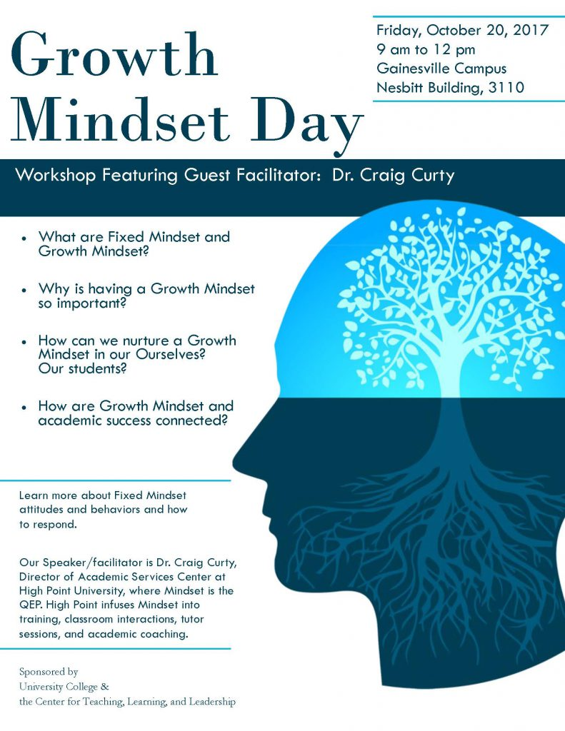 Growth Mindset Day is October 20, 2017. Craig Curty will be the guest speaker. Event starts at 9:00 am in Nesbitt 3110 on the Gainesville Campus