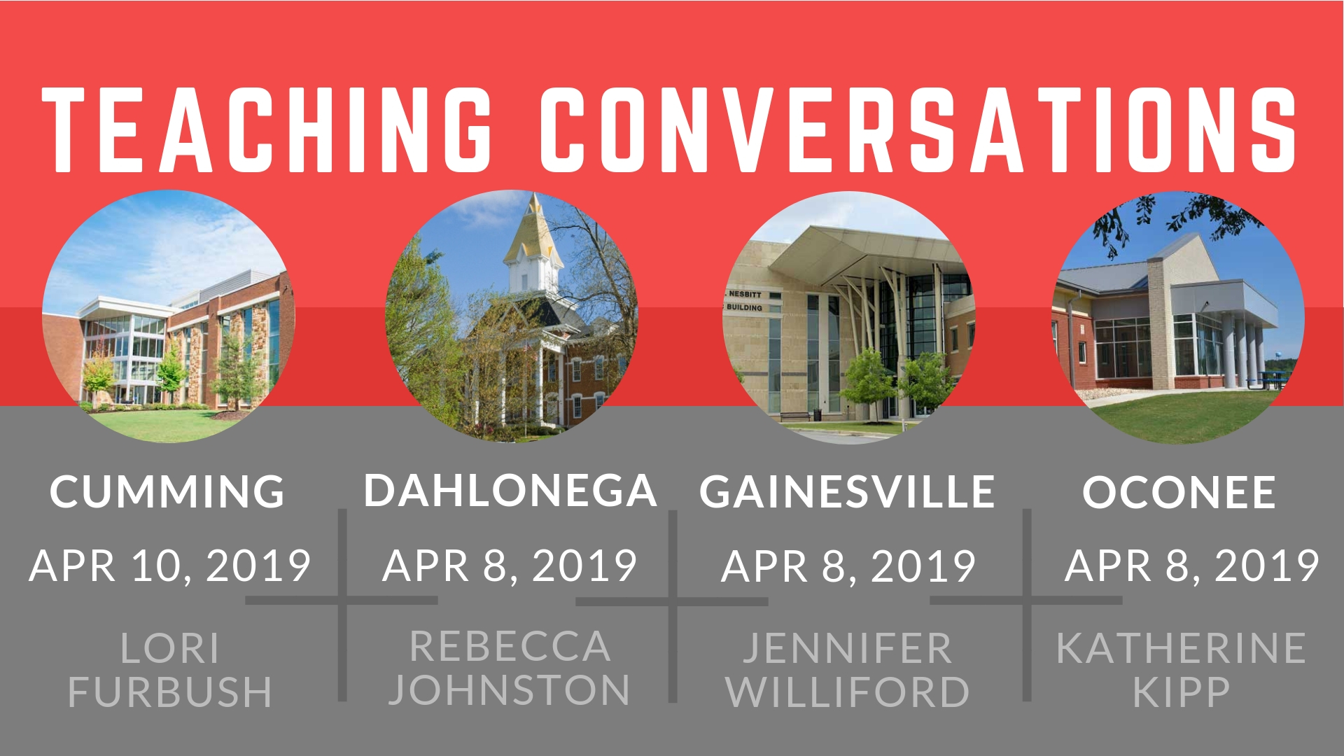 Teaching Conversations workshop information for Cumming, Dahlonega, Gainesville, and Oconee campuses