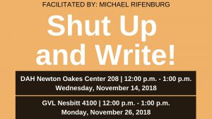 Shut Up and Write information for Dahlonega and Gainesville campuses