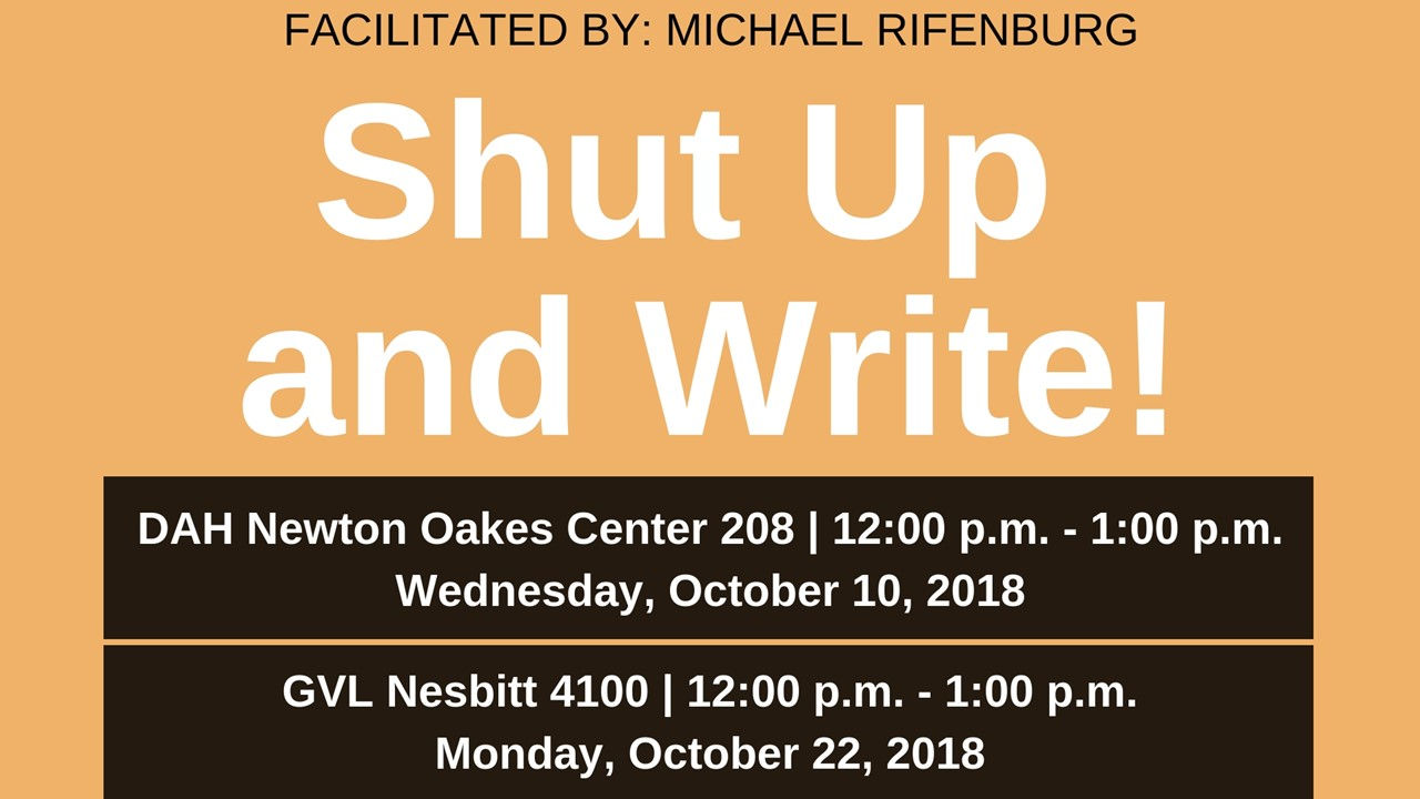 Shut Up and Write information for Dahlonega and Gainesville campuses.