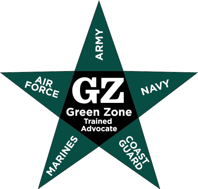 Green Zone Trained Advocate, Air Force, Army, Navy, Coast Guard, Marines