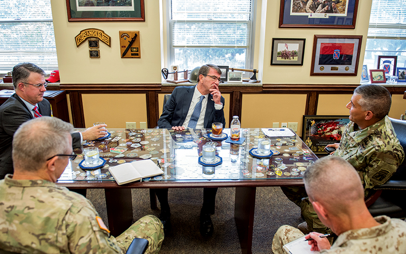 Lt. General Townsend with Secretary of Defense, Ash Carter, and colleagues.