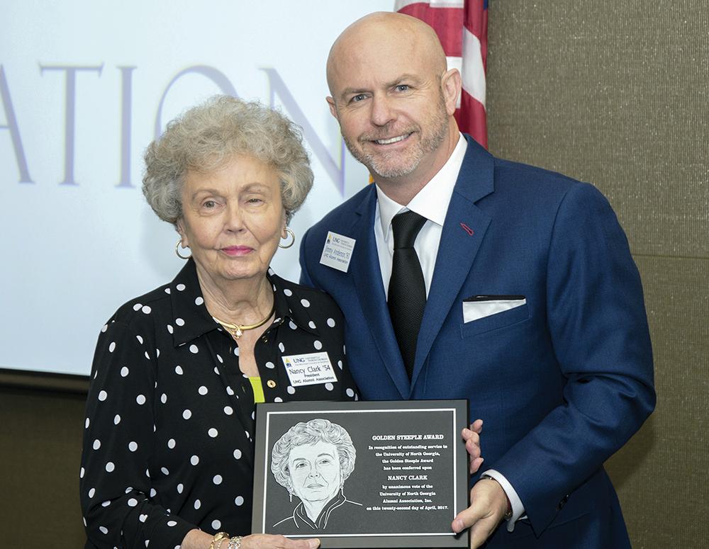 Nancy Clark receives the Golden Steeple Award.