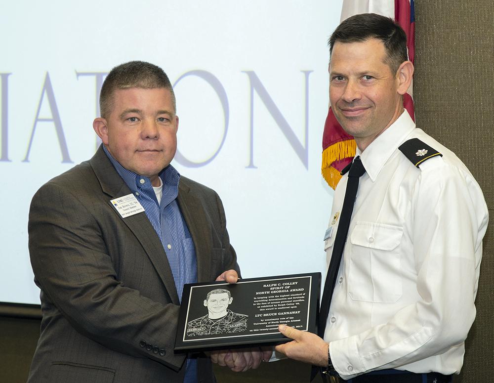 Lt. Col. Bruce Gannaway receives the Ralph Colley Spirit of North Georgia Award.