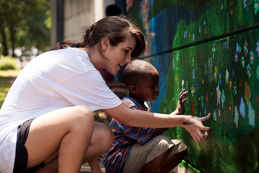 Two UNG Art students interning at the Gainesville Housing Authority (GHA) and will lead 5-6 GHA teens to pain a mural that will be visible inside Melrose Apartments and also along Queen City Parkway.