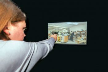 The new high-tech firearms simulator in UNG's Department of Criminal Justice is a key addition for the Public Safety Academy embedded in the bachelor's degree program that provides vital training about proper use of force.