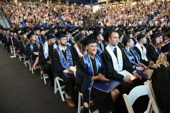 UNG's new convocation center hosted the spring 2018 commencement ceremonies for more than 1,250 graduates from all campuses and commissioning ceremonies for 62 members of the Corps of Cadets.