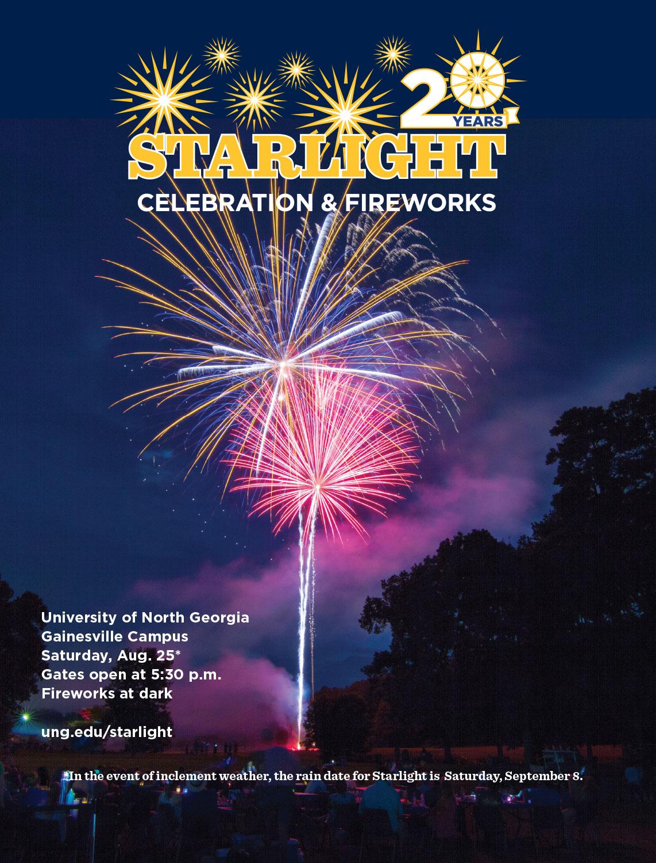 starlight celebration UNG's Gainesville Campus Saturday 8/25 5:30, fireworks at dark. rain date 9/8/18