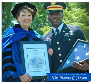 Congratulations to Dr. Bonita Jacobs, newly installed as President of the University of North Georgia! Cadet COL Carty, commander of the Boar's Head Brigade, presented Dr. Jacobs with a U.S. flag flown aboard the USS Georgia. (Image credit: UNG University Relations)