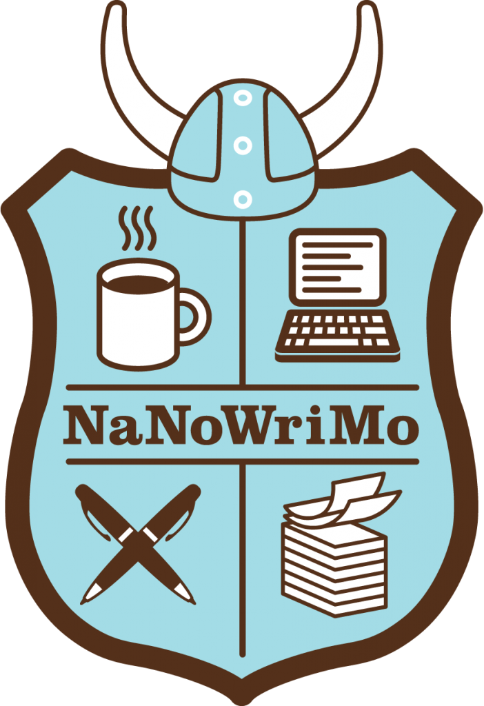 The official logo for National Novel Writing Month (NaNoWriMo). it is a blue shield with a viking helmet on top. The shield has a coffee cup, a computer, two pens crossed over each other making an X, and a stack of papers.