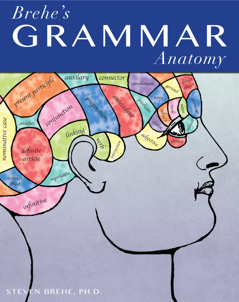 "The cover of ""Brehe's Grammar Anatomy"". It shows the side profile of a man with a map of the brain. Instead of medical terms, the brain is labeled with grammar terms."