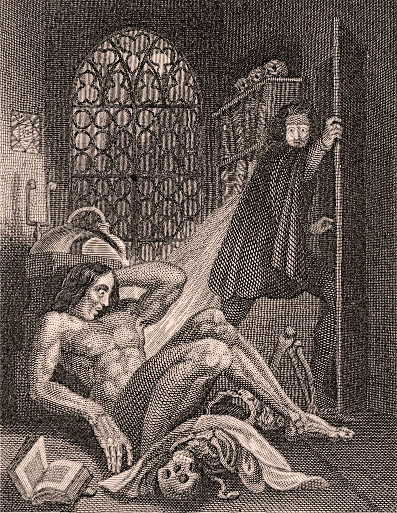 Victor Frankenstein looks at his creation in horror and disgust. Illustration from the frontispiece of the 1831 edition of Frankenstein.