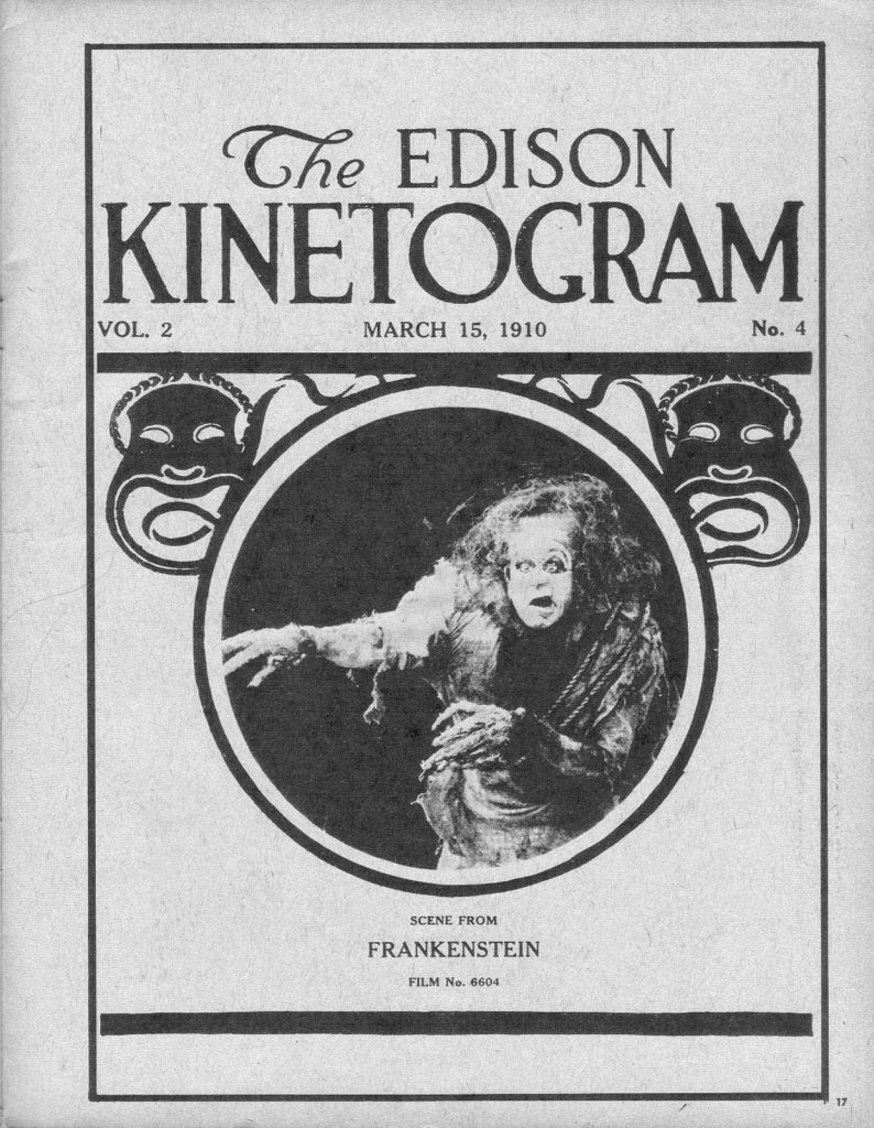 "Poster for Thomas Edison's film production of ""Frankenstein"" in 1910, featuring an image of the monster."