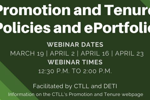 Promotion and Tenure Workshops now being offered