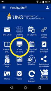 Image of the UNG app with eCore link highlighted