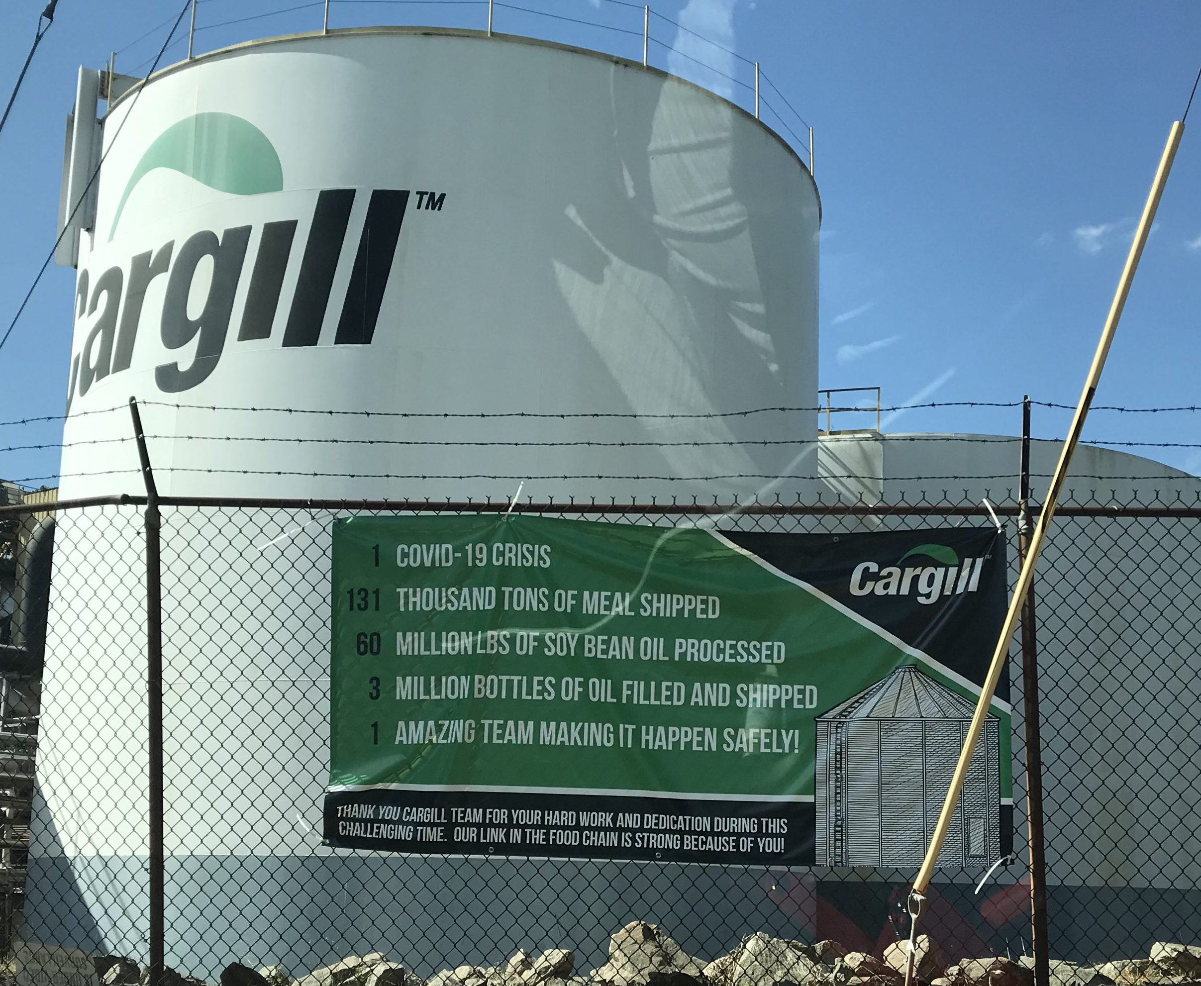 Cargill plant COVID-19 sign at the Gainesville plant