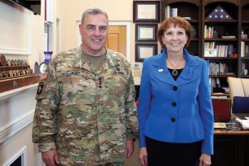 Gen. Mark A. Milley, the 39th Chief of Staff of the U.S. Army, visited UNG's Dahlonega Campus on Aug. 28 to meet with President Bonita Jacobs and speak to members of the Corps of Cadets.