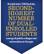 For fall 2017, UNG had the second-highest number of dual-enrolled students among all public colleges and universities in Georgia