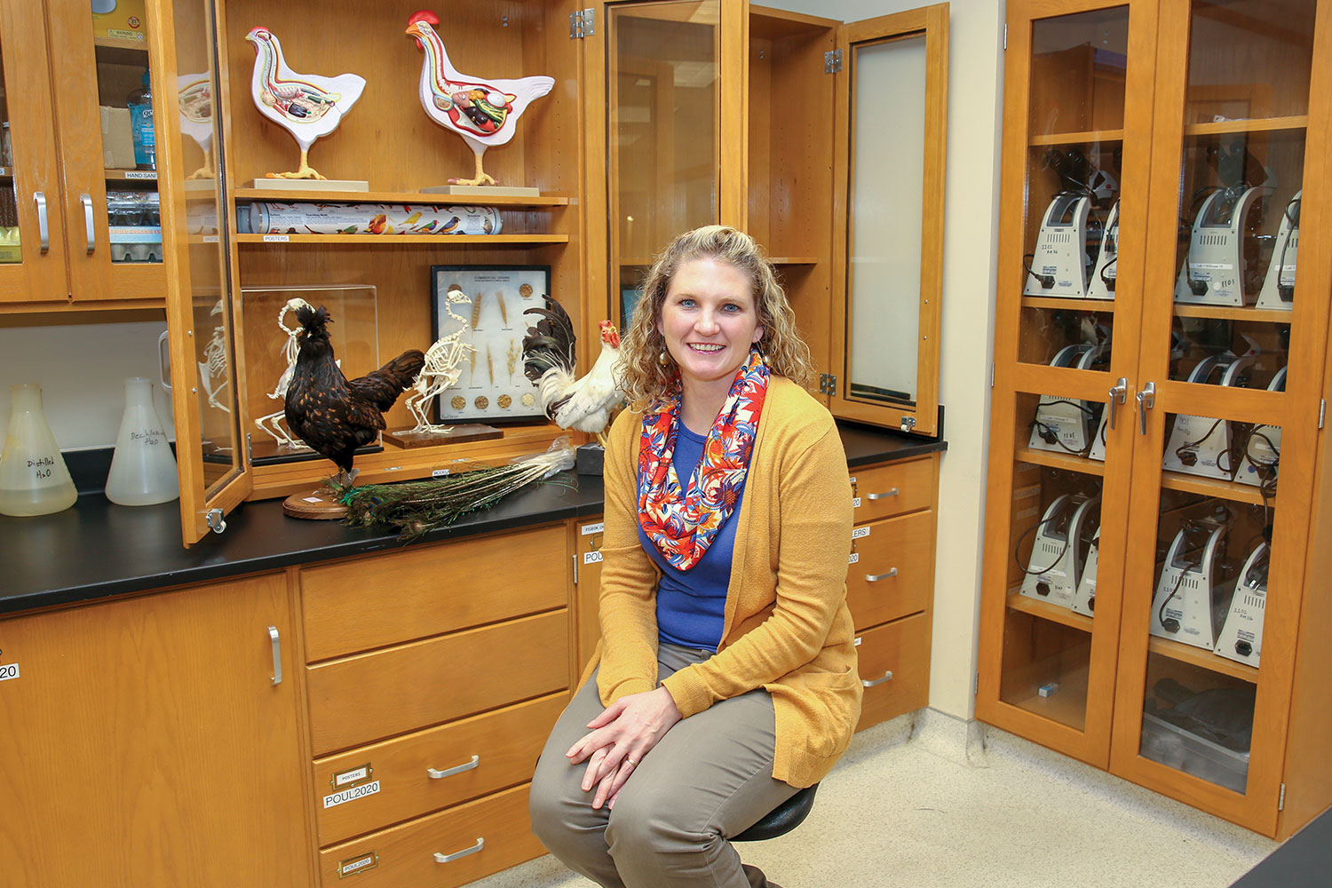 Dr. Purvis with her chickens