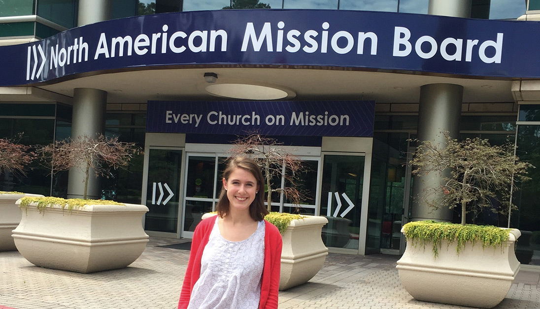 UNG accounting major Mallory Ellis poses in front of the North American Mission Board office.