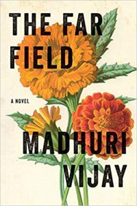 The Far Field book cover, showing an off-white background with a close up of three orange illustrated flowers dominating the center of the cover.