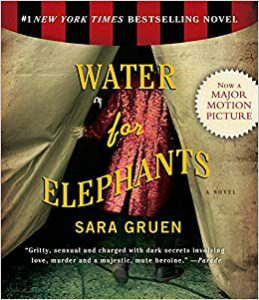 Water for Elephants book cover, shows an image of a ringmaster in a sparkling red coat walking through a canvas tent flap.