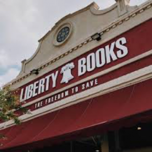 Front facade of the Liberty Books store.