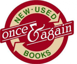 Once & Again Bookstore logo with a circular red, white, green, and yellow design.