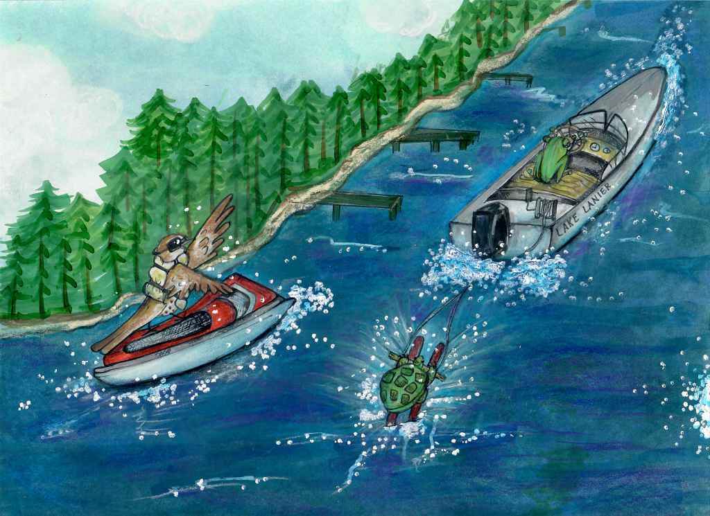 An illustration made with watercolors. A bird, a turtle, and a frog ride in a boat and play at Lake Lanier, Georgia.