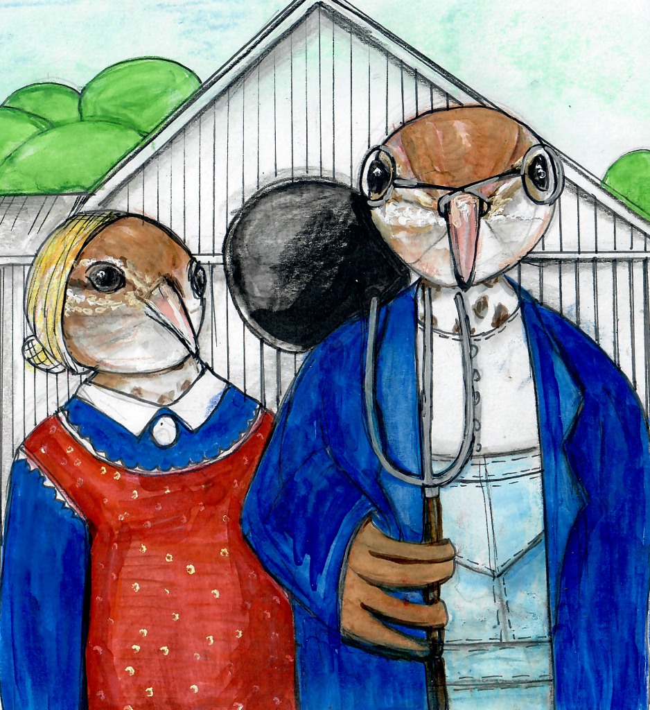 "An illustrated parody of the painting ""American Gothic."" Two birds are dressed in old fashioned farm clothing. They hold a pitchfork and stand in front of a barn."