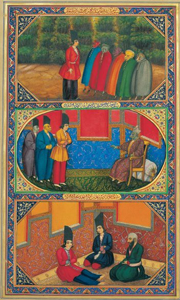An illustration from a Persian edition of One Thousand and One Nights. Three scenes from the book are depicted with bright colors.