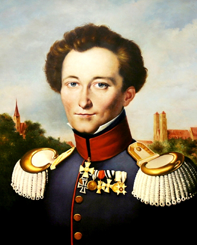 A painting of a young Carl von Clausewitz wearing his military uniform with his medals.