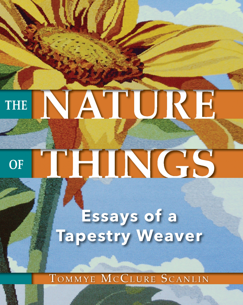 The front cover of The Nature of Things by Tommye McClure Scanlin. A yellow sunflower reaches toward a blue sky.