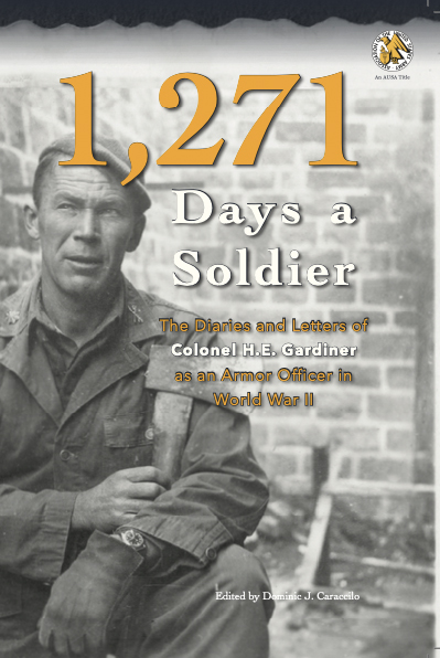 "Front cover of ""1,271 Days a Soldier"" UNG Press, January 2020). A black-and-white photograph of Henry E. Gardiner. Cover design by Corey Parson."