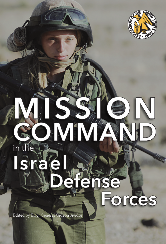Book cover for Mission Command in the Israel Defense Forces (from the UNG Press, 2021). Features a female service member of the Israel Defense Forces.