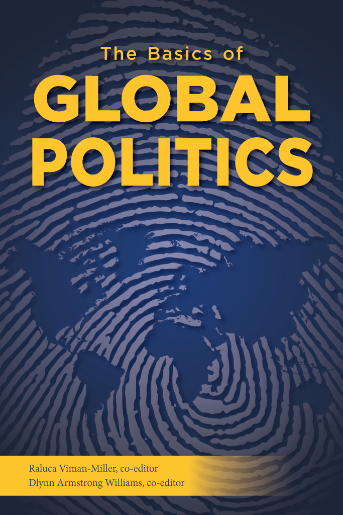 The front cover of The Basics of Global Politics (UNG Press, 2021). A world map with a thumbprint pressed over it.