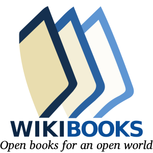 """The logo for Wikibooks with their slogan: """"Open books for an open world."""""""